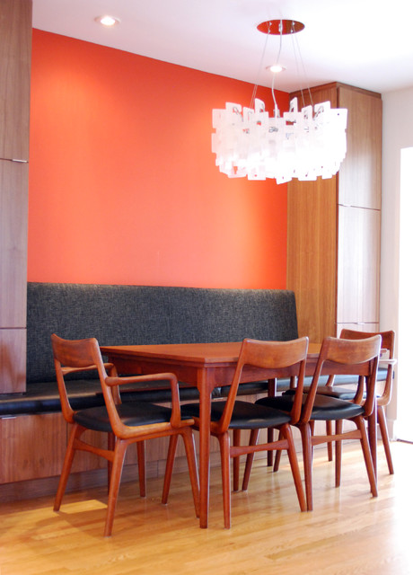 dining banquette Kitchen Contemporary with accent wall banquette breakfast