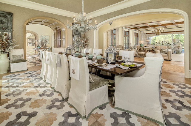Dining Chair Slipcovers Dining Room Traditional with Arch Beige Centerpiece Chandelier