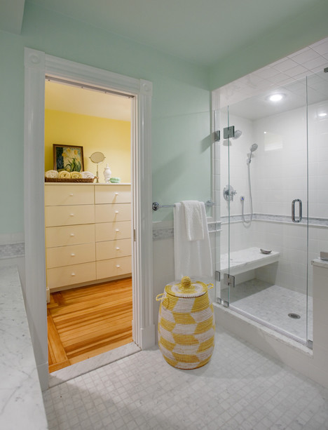 Dirty Clothes Hamper Bathroom Transitional with Glass Shower Glass Walk In