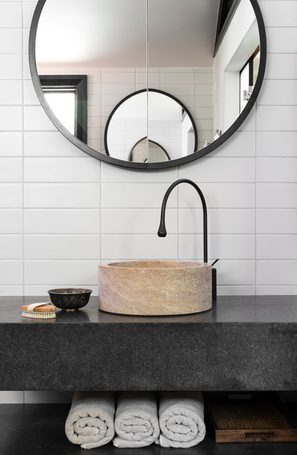 discount countertops Powder Room Contemporary with Andrea D'Cruz bathroom design