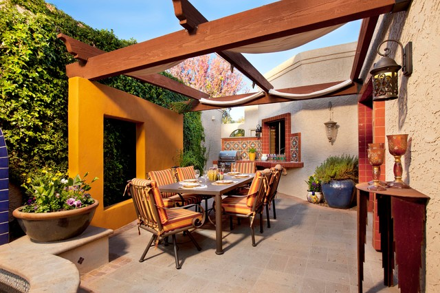 Discounted Patio Furniture Patio Mediterranean with Art Wall Bbq Canopy