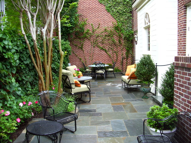 Discounted Patio Furniture Patio Traditional with Brick Wall Climbing Plants