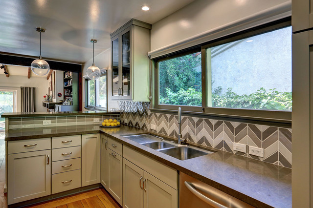 Dish Drainers Kitchen Contemporary with Brown Counter Brown Countertop