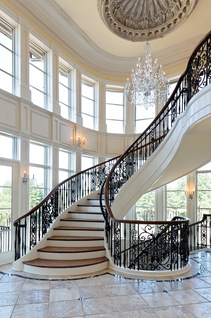dominion electric supply Staircase Traditional with ceiling medallion clerestory windows