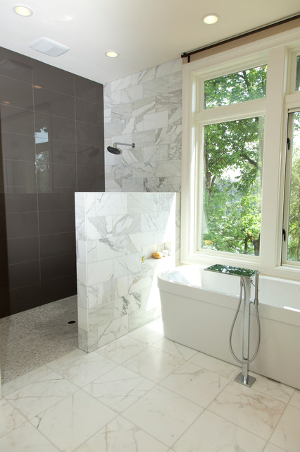 Doorless Shower Bathroom Contemporary with Bath Tub Calacatta Marble