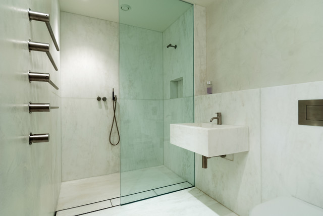 Doorless Shower Bathroom Modern with Beton Cire Concrete Bathroom