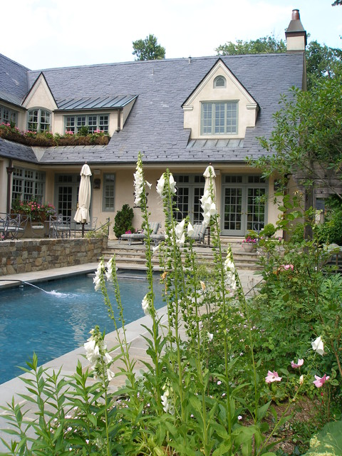Dormer Windows Pool Traditional with Border Plantings Calm Cottage