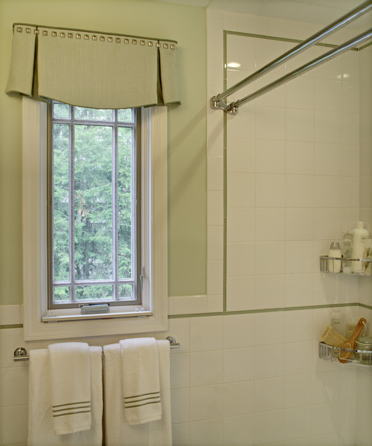 double curtain rod Bathroom Eclectic with accent tile double shower