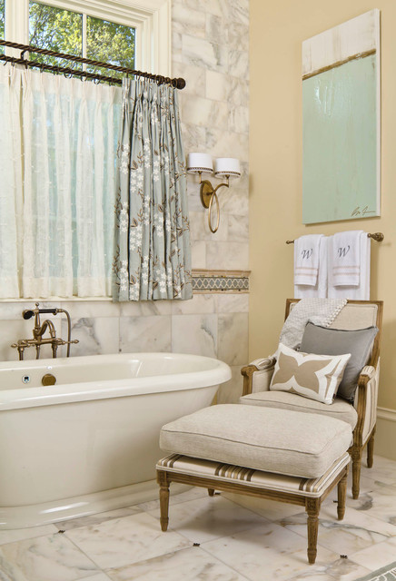 Double Curtain Rod Bathroom Traditional with Arm Chair Artwork Cafe
