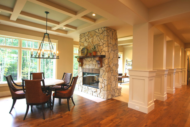 Double Sided Fireplace Dining Room Traditional with Candelabra Coffered Ceiling Fame