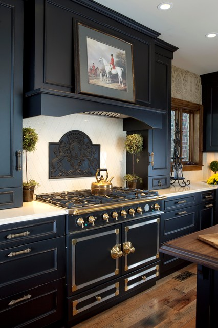 Downdraft Gas Range Kitchen Traditional with Beaded Cabinets Black Cabinets