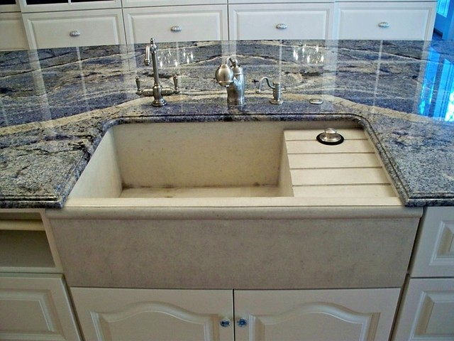 drainboard sink Kitchen Traditional with art glass door backsplash