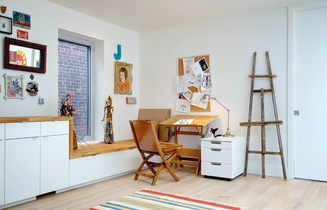 drawing easel Home Office Eclectic with Art built-in cabinets bulletin