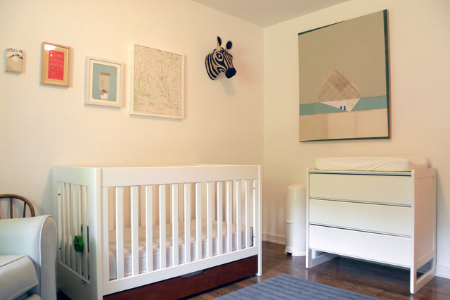 Dresser Changing Table Nursery Midcentury with Abstract Art Boys Room