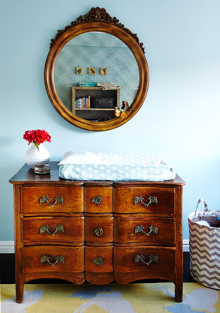 Dresser Changing Table Nursery Shabby Chic with Antique Furniture Antique Mirror