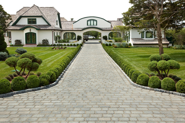 Driveway Pavers Landscape Traditional with Arched Doors Arched Windows