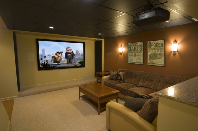 drop ceiling tiles Home Theater Contemporary with accent wall beige carpet