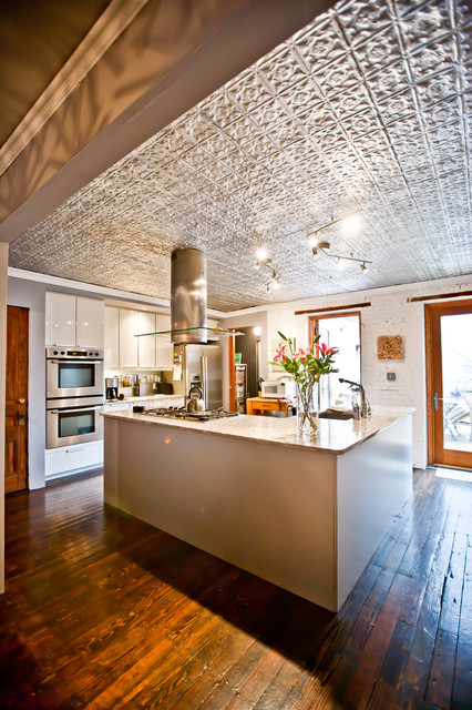 Drop Ceiling Tiles Kitchen Rustic with Brick Dark Stained Wood