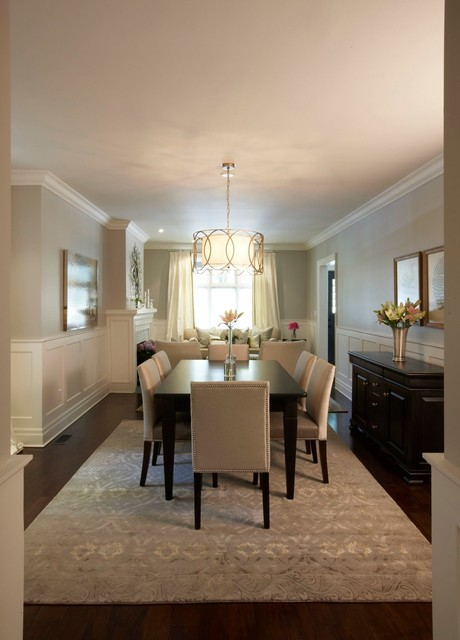 Drum Chandelier Dining Room Traditional with Area Rug Crown Molding