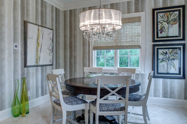 Drum Chandelier Dining Room Transitional with Artwork Baseboard Blue Seat