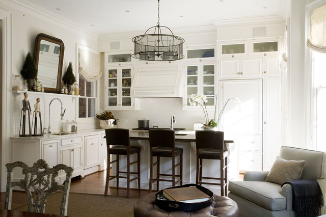 Drum Chandelier Kitchen Traditional with Breakfast Bar Cabinet Front