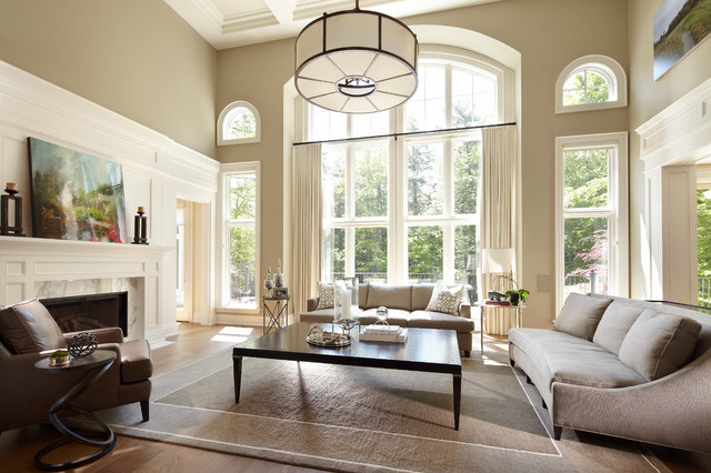 Drum Chandelier Living Room Transitional with Arched Window Beige Fireplace