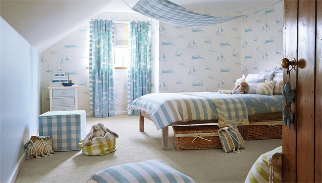 Duvet Inserts Bedroom with Blue and White Wallpaper