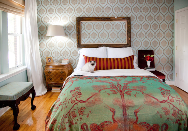 Duvet vs Comforter Bedroom Eclectic with Accent Wall Bedside Table