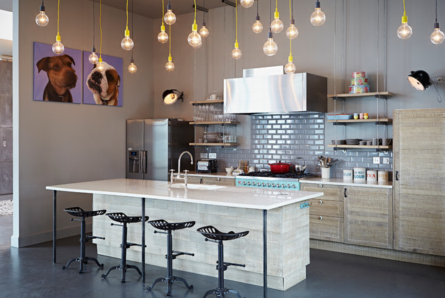 e12 light bulb Kitchen Eclectic with bakeware blue range counter
