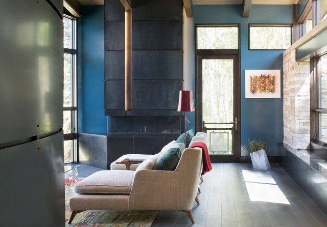 E12 Light Bulb Living Room Contemporary with Blue Accent Walls Chimney