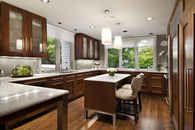 Eleganza Tile Kitchen Contemporary with Breakfast Bar Cabinet Front