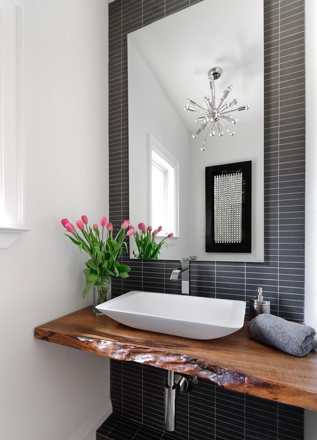 Eleganza Tile Powder Room Contemporary with Black Tile Chandelier Charcoal