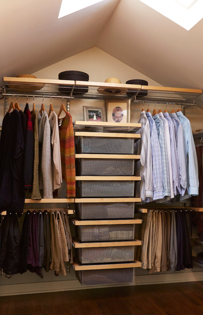 Elfa Shelving Closet Traditional with Attic Hanging Clothes Storage