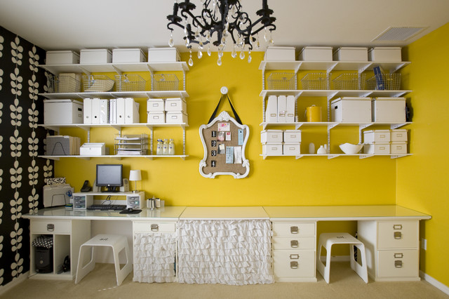 Elfa Shelving Home Office Contemporary with Accent Wall Chandelier Craft