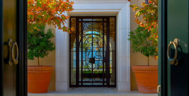 Emtek Door Hardware Entry Mediterranean with Autumn Door Trim Gold