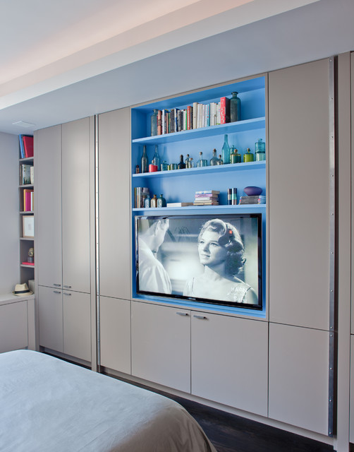 Entertainment Centers for Flat Screen Tvs Bedroom Contemporary with Blue Paint Blue Shelves