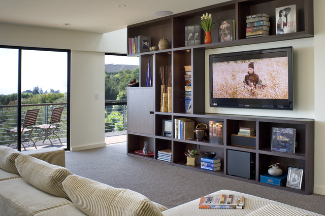Entertainment Centers for Flat Screen Tvs Family Room Contemporary with Balcony Bookcase Bookshelves Cubbies