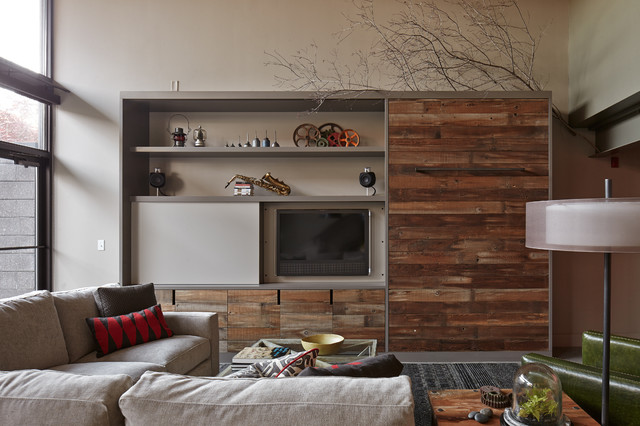 entertainment centers for flat screen tvs Living Room Industrial with barn wood beige sectional