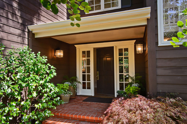 entry door with sidelights Entry Traditional with black door brick brick