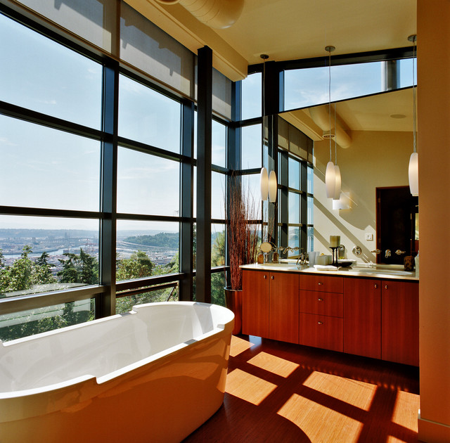Eureka Lighting Bathroom Contemporary with Exposed Ducts Floor to Ceiling Windows