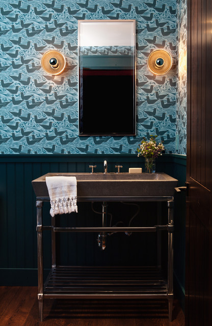 Eureka Lighting Powder Room Transitional with Arts Crafts Wallpaper Blue