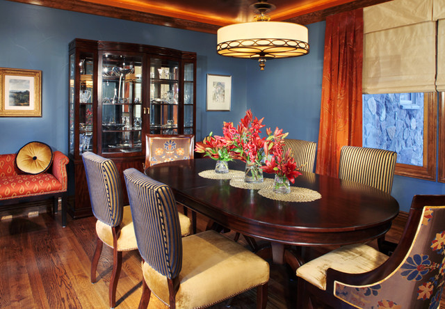 expandable dining table Dining Room Traditional with blue walls china cabinet