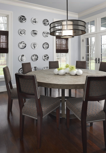 Expandable Round Dining Table Dining Room Contemporary with Centerpiece Crown Molding Dark