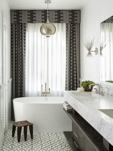 Exquisite Surfaces Bathroom Transitional with Black and White Patterned