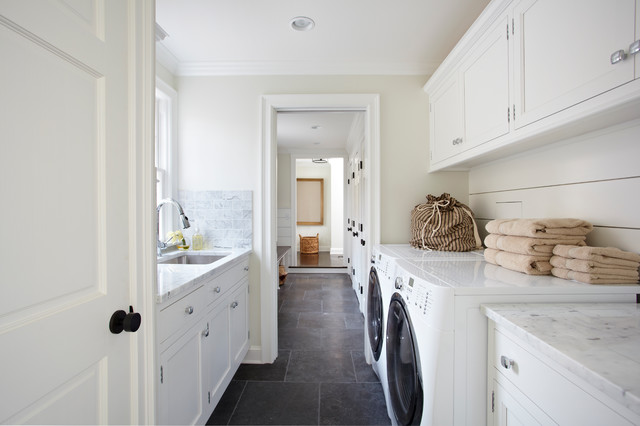 exquisite surfaces Laundry Room Traditional with beige towels gray stone