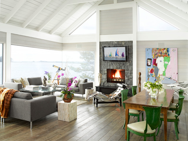Exquisite Surfaces Living Room Contemporary with Antique Floor Art Beach