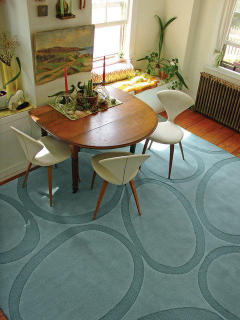 Extendable Dining Table Dining Room Modern with Angela Adams Rug Bench