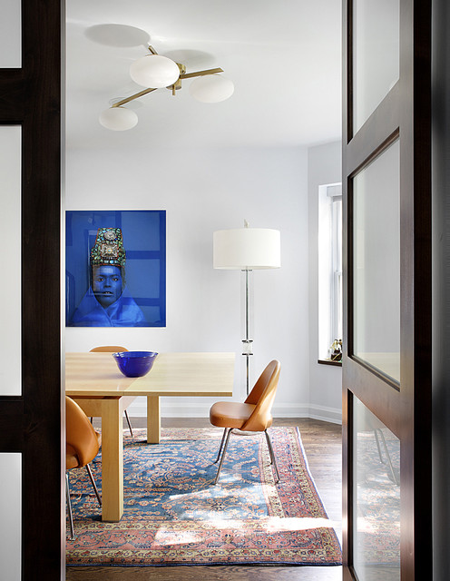 Extendable Table Dining Room Midcentury with Area Rug Baseboards Ceiling