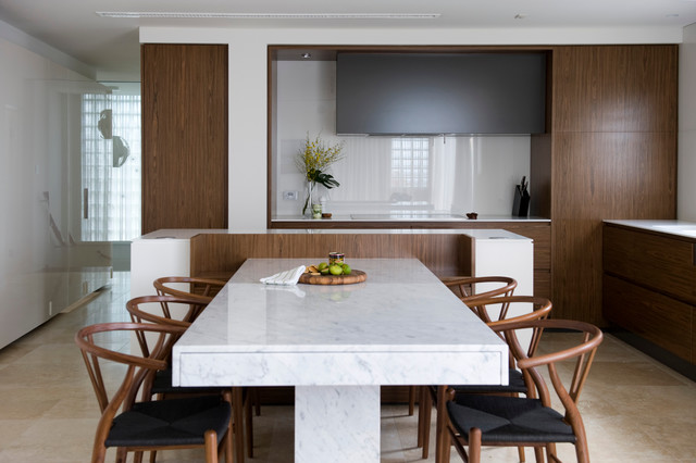 extendable table Kitchen Contemporary with beige stone floor corian