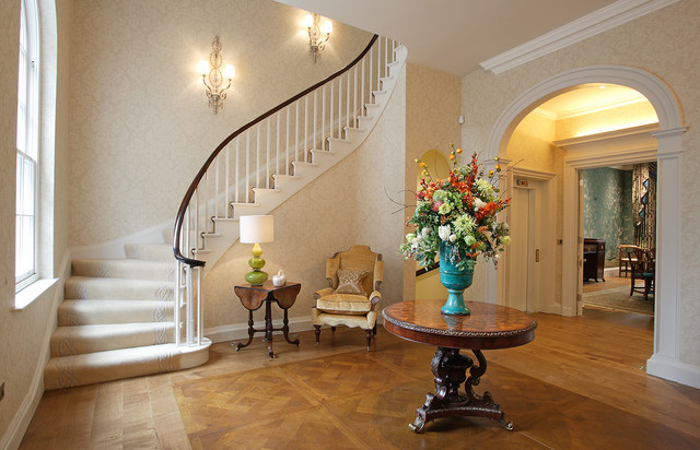 Fake Flower Arrangements Entry Eclectic with Curved Staircase Entrance Hall
